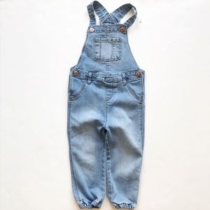 H&M light wash denim jogger overalls  EUC 1.5-2Y